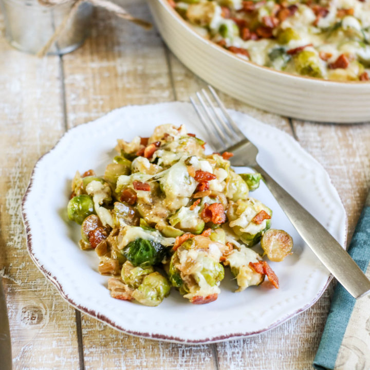 Cheesy Brussel Sprout & Bacon Bake
