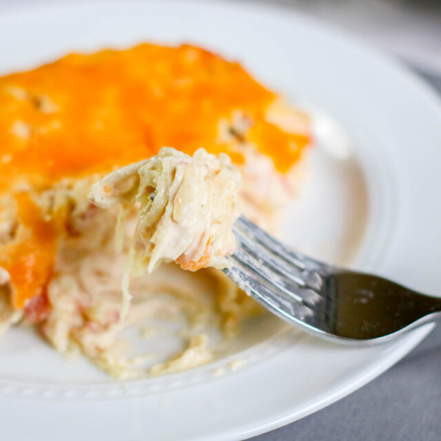 Easy & Delicious Low Carb Dinner - Creamy Chicken Spaghetti Bake