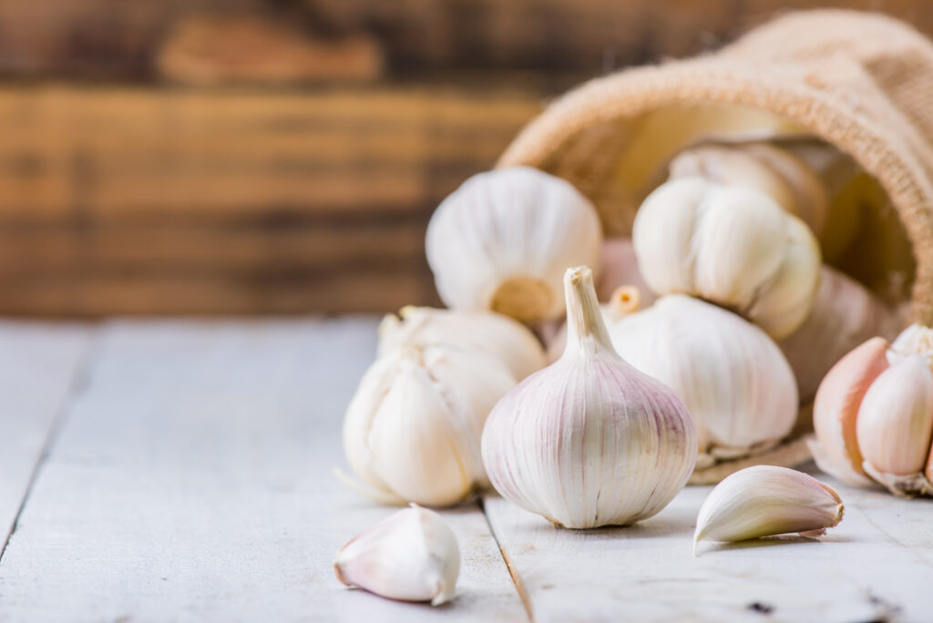Garlic Cloves and Bulb for food cooking in the kitchen